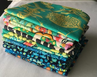 Lark Amy Butler Out of Print RARE Fat Quarter Bundle Modern Quilting Navy Lime Teal Contemporary Colorful piecesofpine