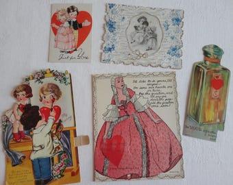 Exquisite Antique Valentines Artist n Model Mechanical Paint Brush Elegant Lady Pop Card plus Perfume Vintage Valentine Lot No. 108