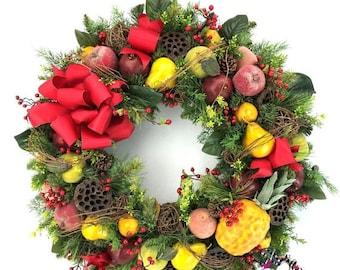 ON SALE XL Williamsburg Wreath, Winter Fruit Wreath, Winter Door Wreath, Winter Door Decor, Front Door Wreaths, Flocked Wreath, Snow Wreath