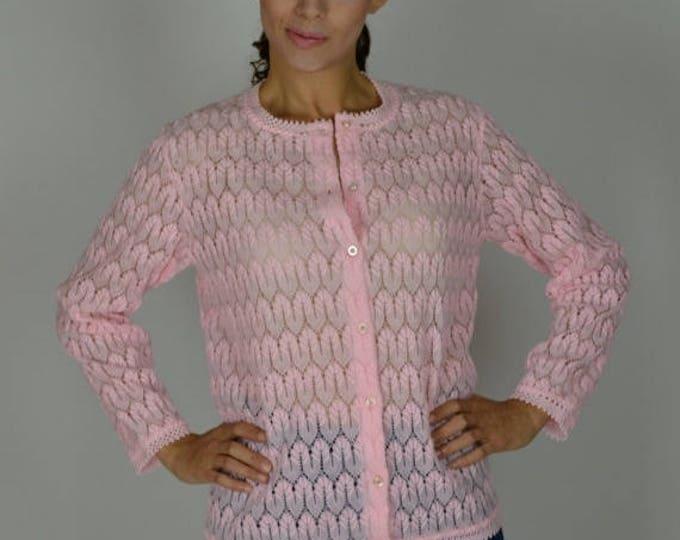sale Pink Cardigan, Summer Cardigan, Chevron Knit, Vintage Cardigan, 60s Cardigan, Large Cardigan, Pink Sweater,