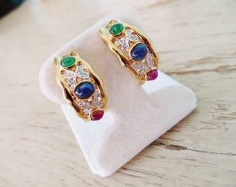 18K Gold Earrings Multi Gemstone Half Hoop Vintage Emerald Ruby Sapphire Diamond Luxury Retro Estate Jewelry