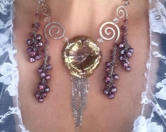 Ready to ship SALE Waterfall Camellia in cascading dusty rose on sterling spirals