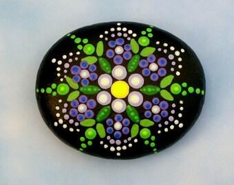 Mandala stones etsy Jewel drop painted rocks healing meditation therapy garden stone purple lilac flower dot art pointillism fairy garden