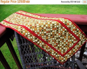 Summer Sale Quilted table runner contemporary modern geometric  circles metallic gold with red trim Quiltsy handmade