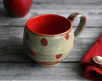 Round Stoneware Mug in Textured Sage Green Glaze and Red Polka Dots 13 oz. Rustic Pottery Cup Ready to Ship Made in USA