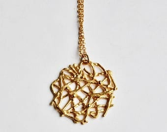 Lace pendant necklace gold plated silver – birthday present – anniversary gift – wedding jewelry – Valentines gift