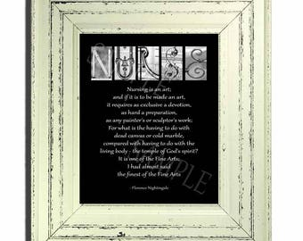 """Nurse Inspitrational Saying by Florence Nightingale  on 8""""x10"""" hardboard plaque Black and White fits in your purchased frame"""