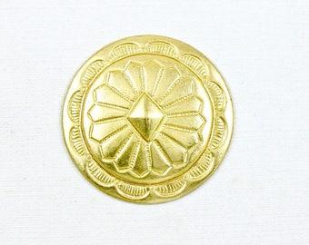 6 gold Southwestern Concho brass embellishment.  27mm (T17nh).
