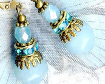 Earrings TREASURES ice Opal turquoise Crystal bronze OR693b ✿ ✿