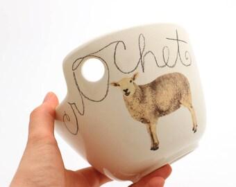 Yarn bowl, wool lamb, white sheep,  crochet bowl, great gift for mom, crafters, makers, ceramic yarn bowl, crochet supplies