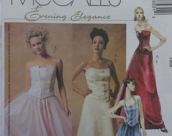 McCalls 3853 Sewing Pattern Evening Elegance Misses' Women's Lined Tops and Skirts, Women's Evening Dress, Size 6, 8, 10, 12