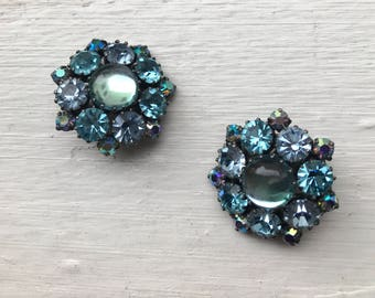 Vintage Aqua Blue Shades Rhinestone  Made in Austria Clip On Earrings Costume Jewelry
