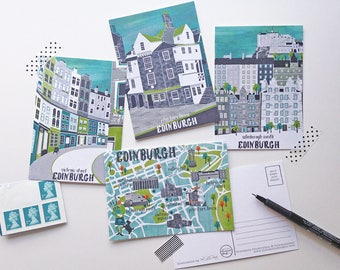 Edinburgh Postcards / Scotland Postcard Gift / Scottish Postcards / Edinburgh Illustration / Scotland Illustration / Edinburgh Map
