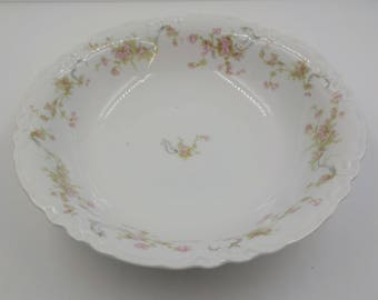 Gorgeous - Vintage Porcelain Serving Bowl - Large - Bavaria- Pink flowers and Greenery - Shabby Cottage - Hutschenreuther