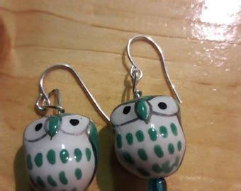 Beautiful green owl earrings