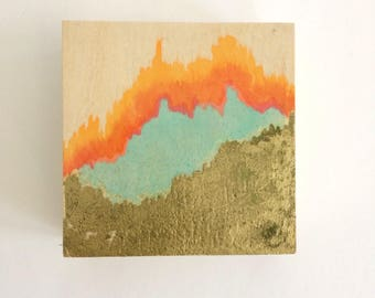Painting -Joyful Abstract Art Red, Gold, Baby Blue - Original Acrylic Painting on Wood Panel, Happy Art Decor