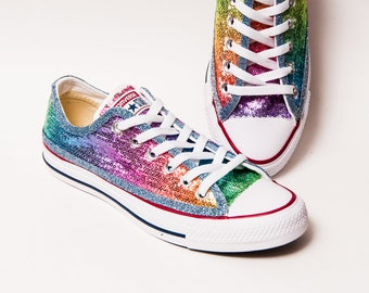 Sequin - Rainbow Multi-Colored Custom Canvas Converse Sneakers Shoes