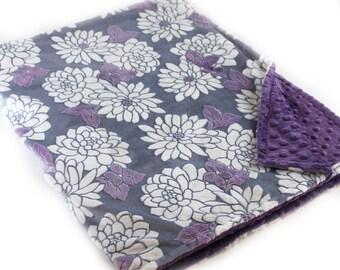 Adult Minky Blanket, Purple Minky Blanket, Personalized Flowers Violet Gray Minky Throw Blanket, Floral Minky Blanket, Kids Minky Blanket