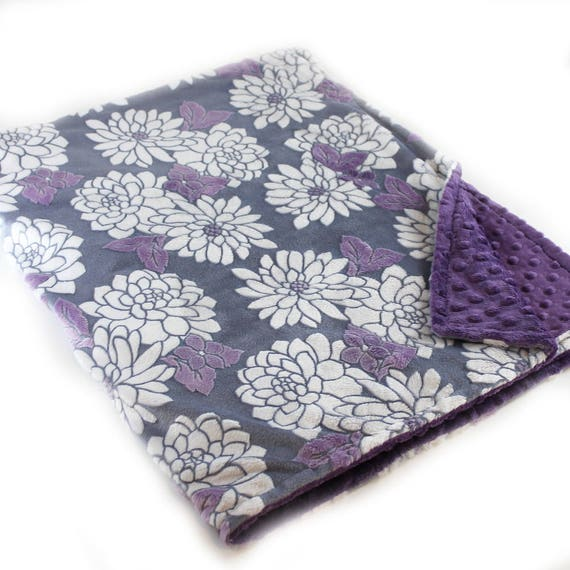 Adult Minky Blanket, Purple Minky Blanket, Personalized Flowers Violet Gray Minky Throw Blanket, Floral Minky Blanket, Kids Minky Blanket