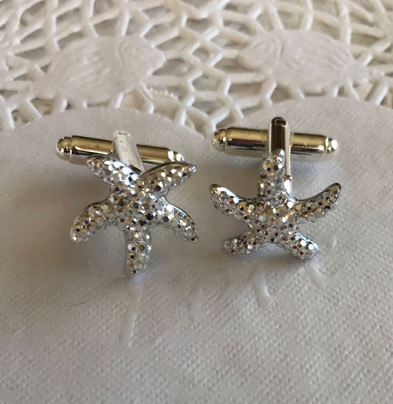Starfish Cuff Links-Silver Tone-Groomsmen Gift-Destination Beach Wedding-Gift Box Included Free