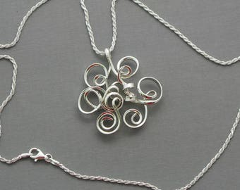 Sterling silver abstract necklace silver spiral necklace  modern geometric necklace flower necklace unique wirewrapped abstract jewelry