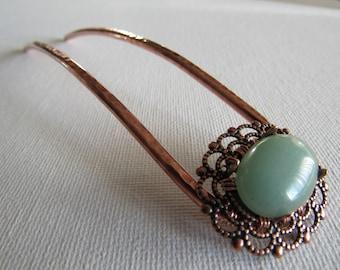 Green Aventurine Cabochon - Hair Fork - Custom Made to Order-  hair accessories, metal hair comb, hair stick, u pin, woman