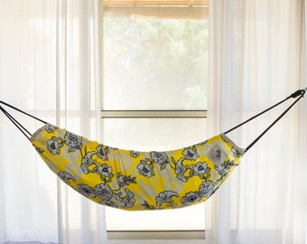 baby hammock swing   zaza nature   designer limited editon   yellow flowers   natural cotton the worlds most versatile baby hammock and swing by zazahammocks  rh   etsy