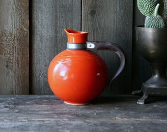 Red Bauer Pitcher Mid Century Modern Bohemian Decor Bright Carafe With Wood Handle From Nowvintage on Etsy