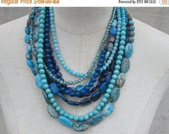 """XMAS in JULY SALE Blue Navy Turquoise Aqua Shades Multi Strand Beaded Layered Necklace,  """"L'Heure Bleue """""""