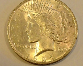 Vintage 1923 Peace Dollar - Silver Dollar - Collectable Dollar - USA Coins - Silver Coins - FREE Shipping