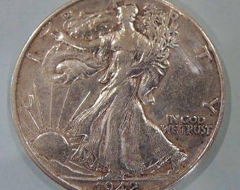 Vintage 1942 Walking Liberty Half Dollar, WWll Coin, Silver Half Dollar, Silver Coins, Rare Coins, USA Coins, FREE Shipping