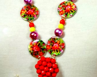 A Colorful Bold Statement  Bohemian Floral Necklace Set