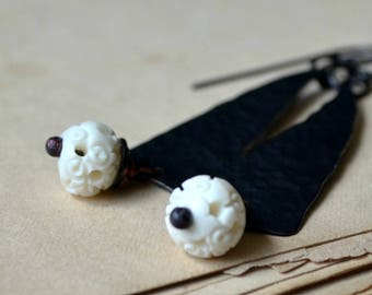 Rustic earrings, carved ivory beads, copper earrings, hammered texture - Night garden