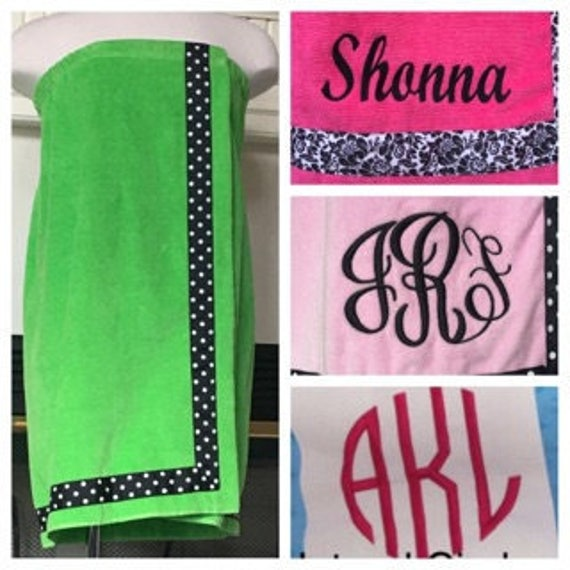 Spa Wrap Personalized Plus Size Womens Lime Green Towel Wrap With Accent Ribbon-FREE SHIPPING