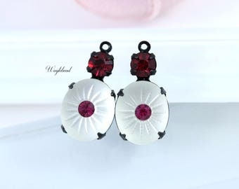 Vintage Camphor Glass Stones Swarovski Crystal 19x10mm Black Antique Settings Frosted White Ruby & Fuchsia - 2