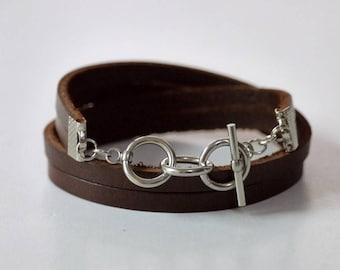 Brown Leather Wrap Bracelet Leather Bracelet Leather Cuff Bracelet Women Leather Bracelet with Stainless Toggle Clasp