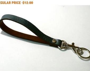 Blue Leather Wrist Strap Leather Key Fob Key Chain Key Ring Key Holder