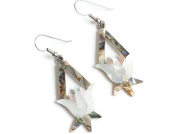 MOP and Abalone Dangle Floral Earrings Tulip Flower Design Mexico Vintage