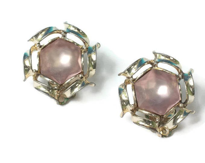 Frosted Mauve Glass Earrings Signed Rousseau Designer Gold Tone Clip On