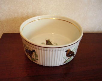 "Lourioux Le Faune 7"" souffle dish with birds, France"