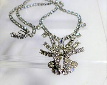 Sale 15% Stunning Crystal Rhinestone Necklace Vintage Silver Statement Dimensional 3-d
