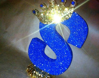 BY JULY 1 - 15 sparkling royal blue and gold letter S centerpieces