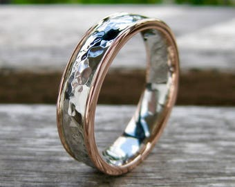 Two Tone 14K White and 14K Rose Gold Wedding Band with Hammered and Glossy Finish Sizes 11