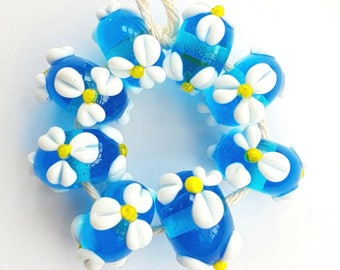 Bright Turquoise Flowered Lampwork Beads