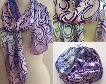 Silk Scarf - Hand dyed Devore Cut Satin