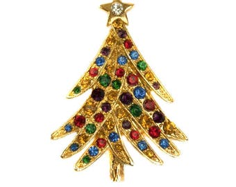 1980s Multi Color Rhinestones Gold Plated Holiday Christmas Tree Vintage Pin Brooch