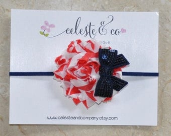 SUMMER SALE Fourth of July Patriotic Headband - 4th of July Headband Red White and Blue Shabby Flower Headband with Bow
