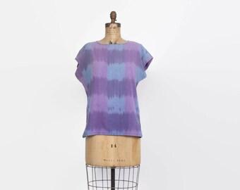 Vintage 80s ETHNIC TOP / 1980s Ethnic Boho Woven Cotton Lavender Ikat Shirt