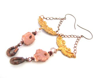 Gold Dust Traveler - Long Dangly Chain Earrings with Vintage Brass, Lampwork and Druzy Slices with Antiques Wire Charms