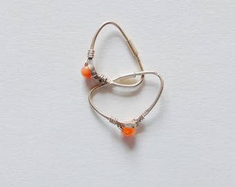 Rare to find! Sterling Silver Earrings Coral Stone
